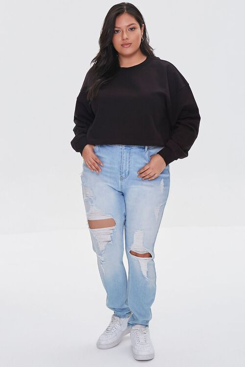 BLACK Plus Size French Terry Pullover, image 4