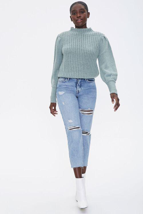 Mock Neck Ribbed Sweater, image 4