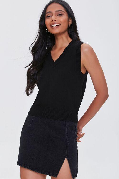 BLACK Heathered Sweater Vest, image 1