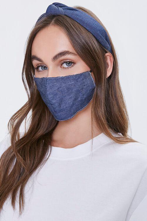 Denim Headband & Face Mask Set, image 1