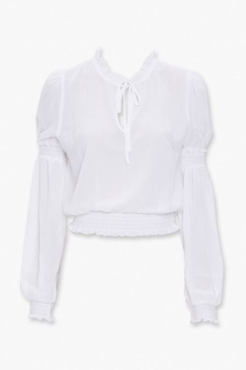 Smocked-Trim Peasant Top, image 1