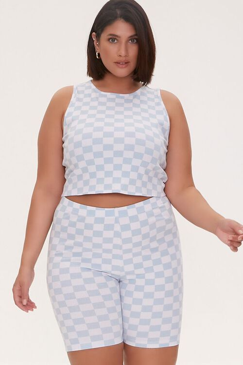 Plus Size Checkered Print Biker Shorts, image 1