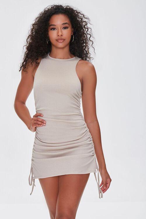 TAUPE Ruched Drawstring Mini Dress, image 1