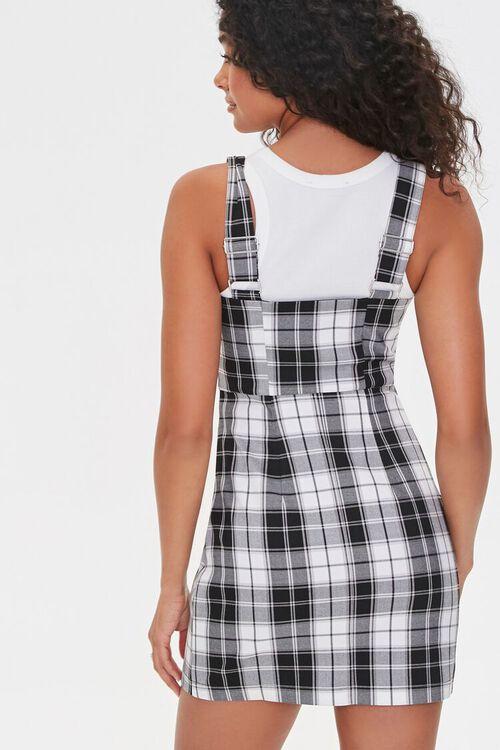 BLACK/CREAM Plaid Zippered Overall Dress, image 3
