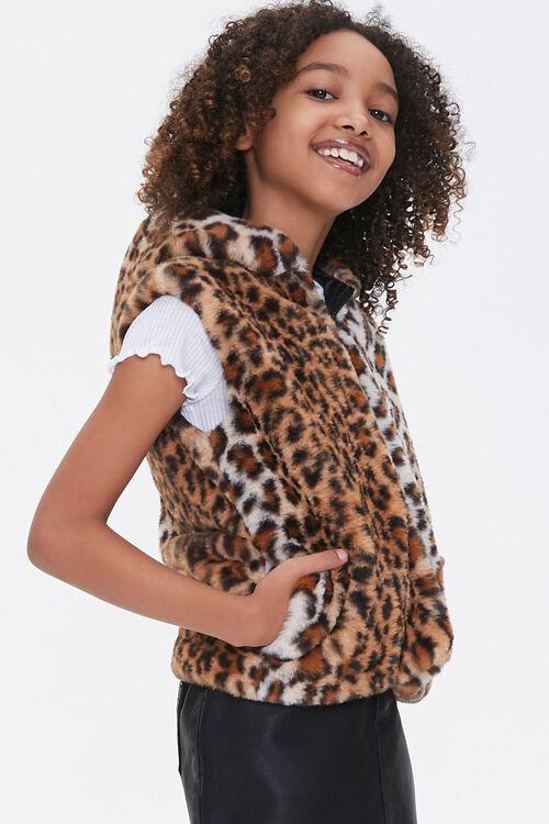 Girls Hooded Leopard Vest (Kids), image 2