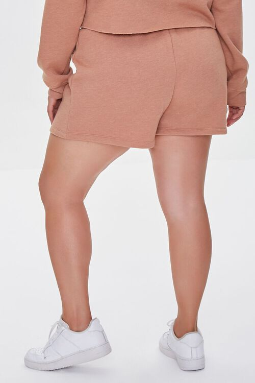 TAUPE/BROWN Plus Size Fleece California Shorts, image 4