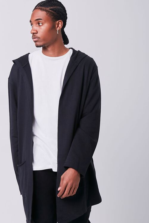 BLACK Longline Hooded Cardigan Sweater, image 1