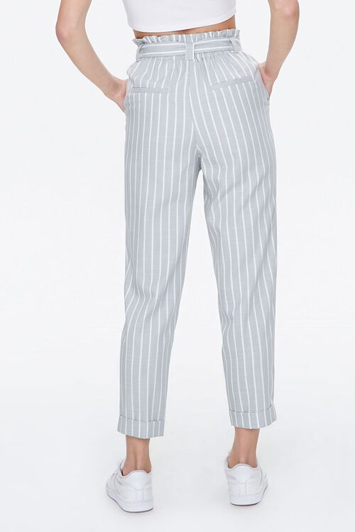 Cuffed Striped Paperbag Pants, image 4