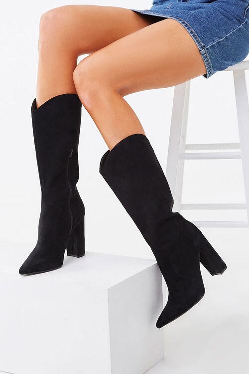 Faux Suede Block Heel Boots, image 1