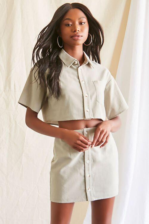 Linen-Blend Shirt & Skirt Set, image 1