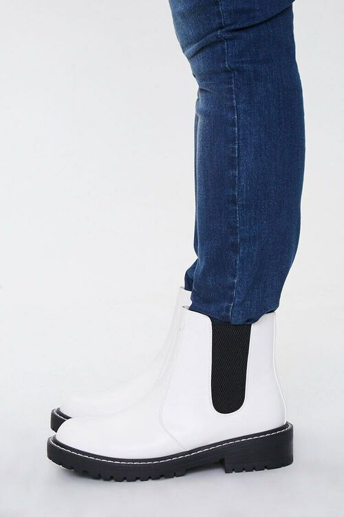 WHITE Faux Leather Chelsea Booties (Wide), image 2