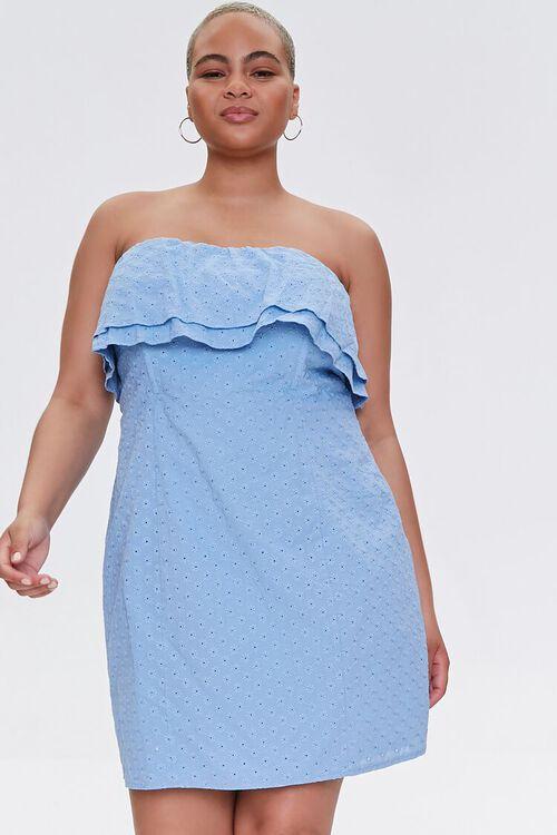 Plus Size Eyelet Flounce Mini Dress, image 1