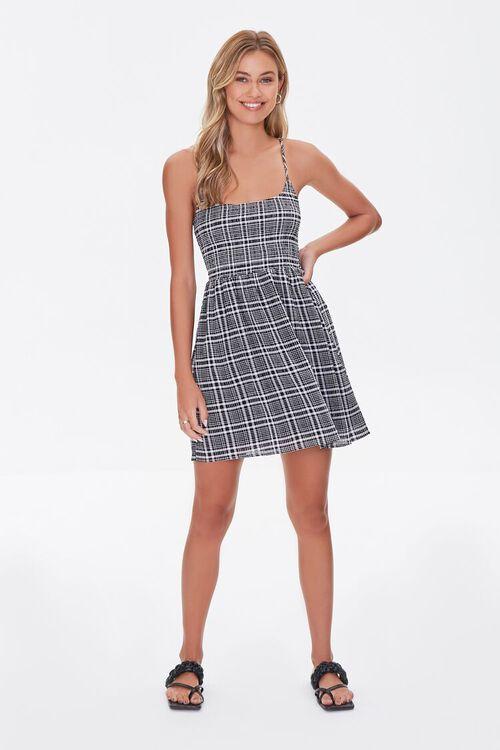 BLACK/CREAM Plaid Mini Cami Dress, image 4
