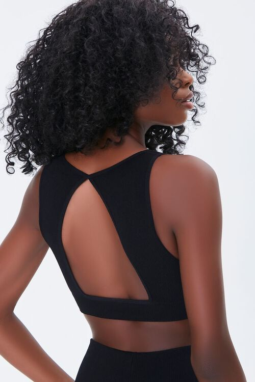 BLACK Ribbed Cutout Sports Bra, image 3