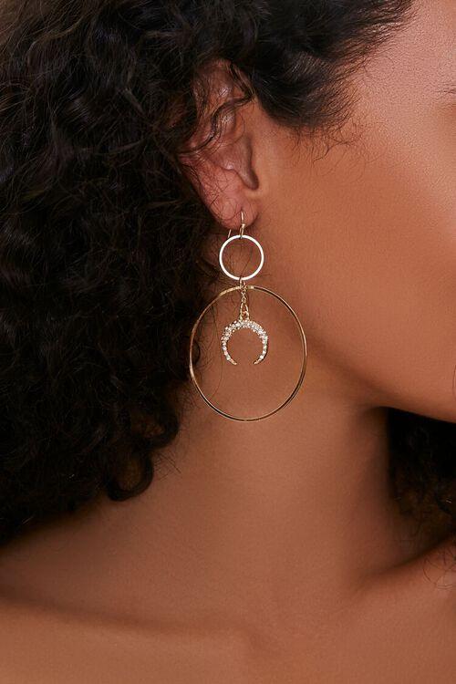 GOLD Crescent Moon Hoop Drop Earrings, image 1