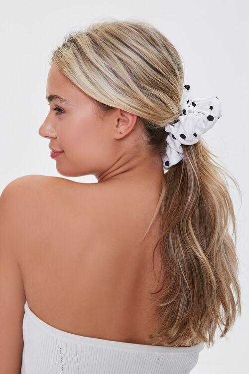 WHITE/BLACK Polka Dot Print Scrunchie, image 1