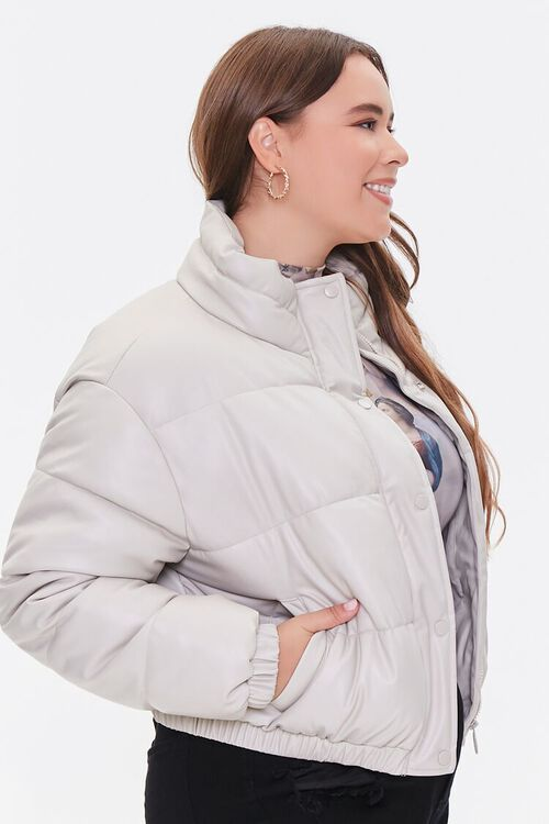 BEIGE Plus Size Faux Leather Puffer Jacket, image 2
