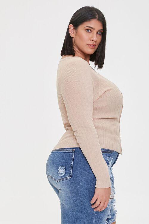 Plus Size Ribbed Cardigan Sweater, image 2