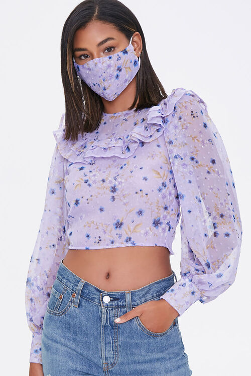 Floral Crop Top & Face Mask Set, image 1