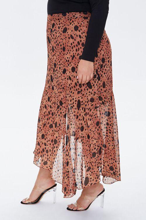 TAN/MULTI Plus Size Spotted Maxi Skirt, image 3