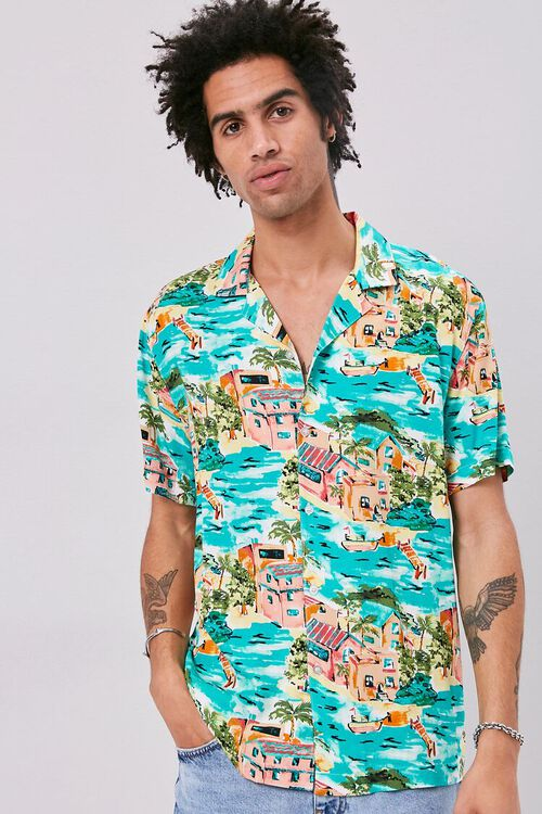 Classic Fit Tropical Print Shirt, image 1