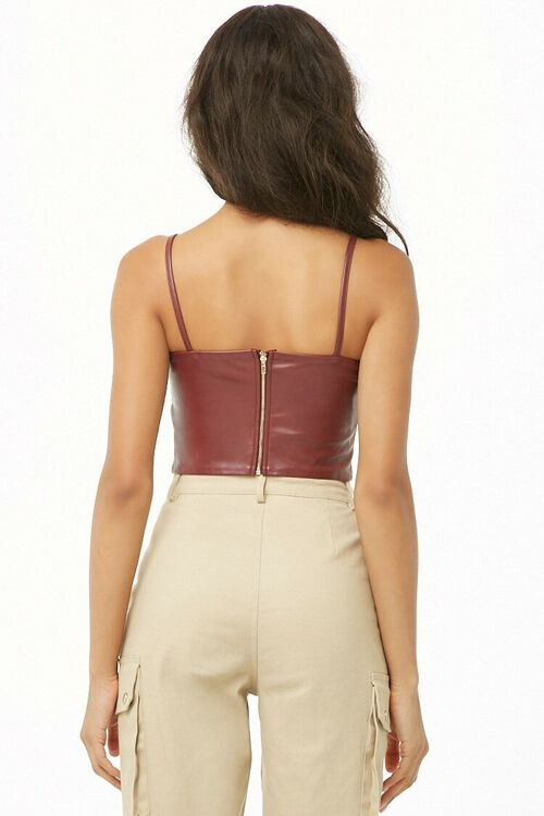 Faux Leather Bow Cropped Cami, image 3