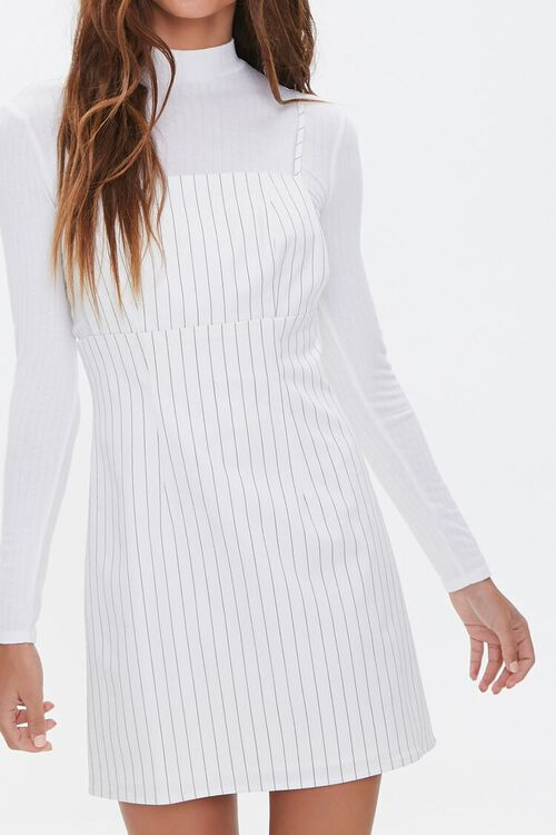 Striped Print Overall Dress, image 1