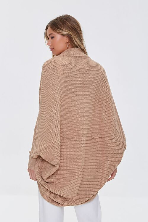 TAUPE Ribbed Open-Front Cardigan Sweater, image 3