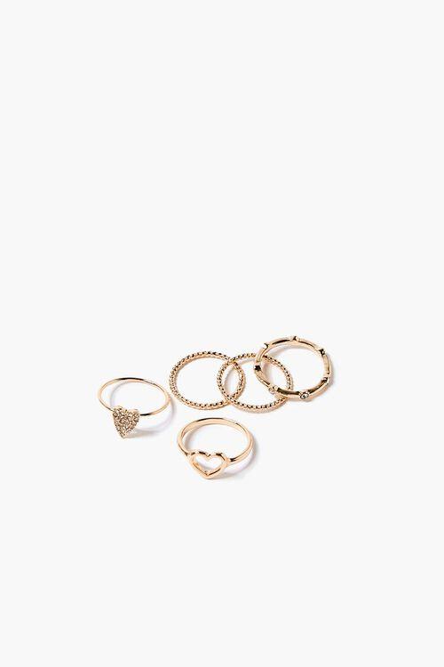 GOLD Heart Charm Ring Set, image 1
