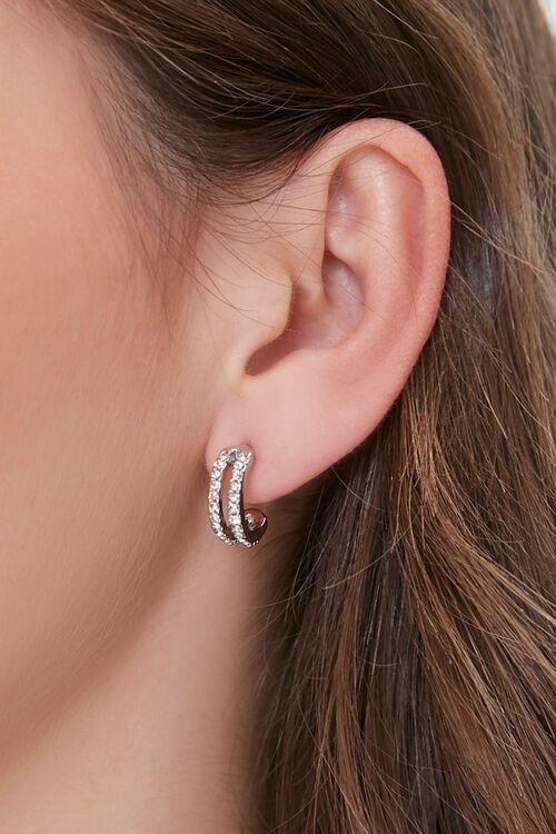 SILVER Faux Gem Hoop Earrings, image 1