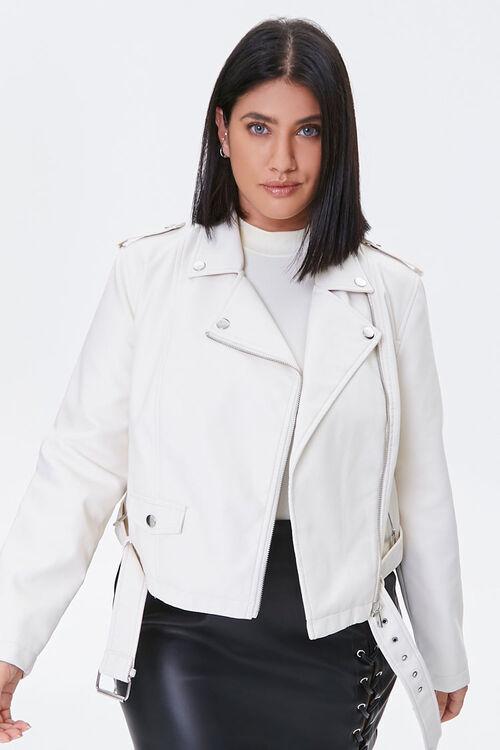 Plus Size Faux Leather Moto Jacket, image 1