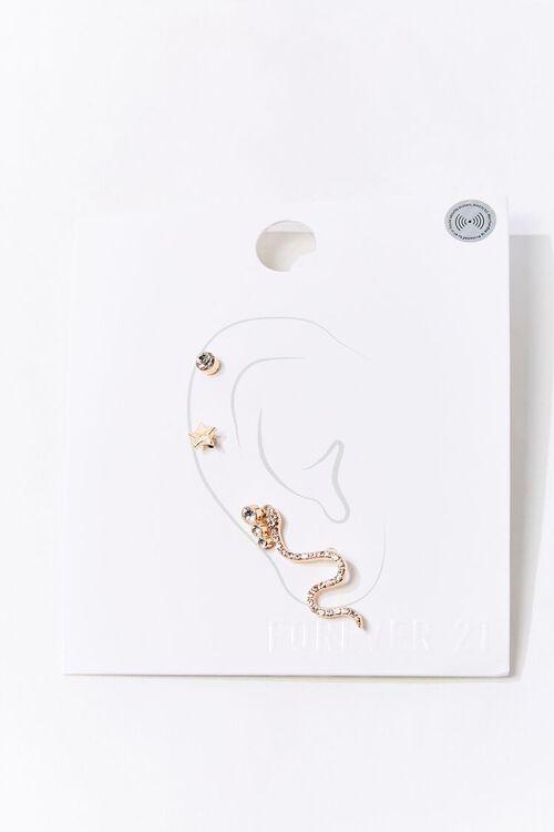 Rhinestone Snake Charm Earring Set, image 1