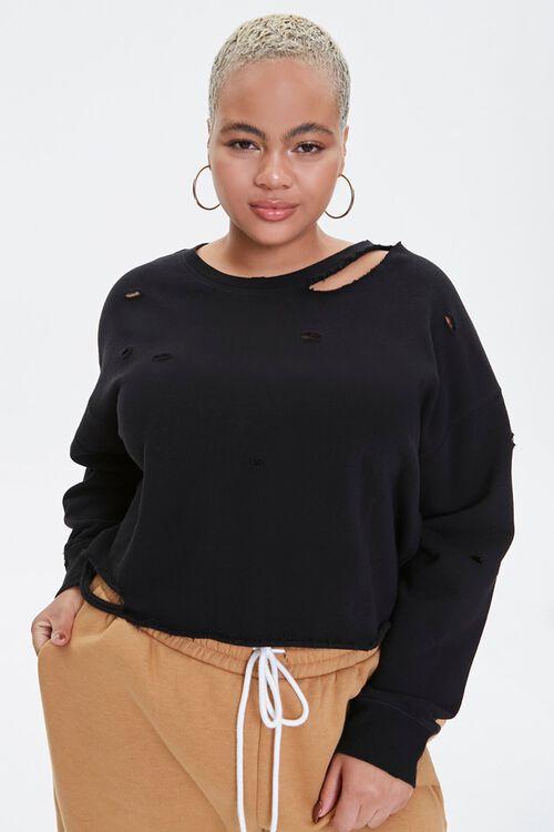 Plus Size Distressed Sweatshirt, image 1