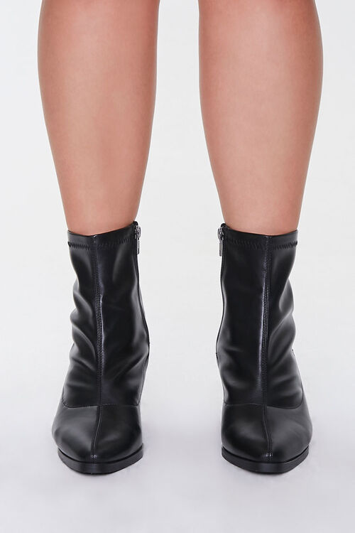 Faux Leather Pointed Booties (Wide), image 2