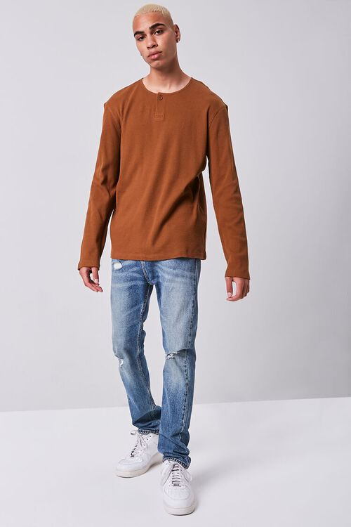 BROWN Henley Thermal Top, image 4