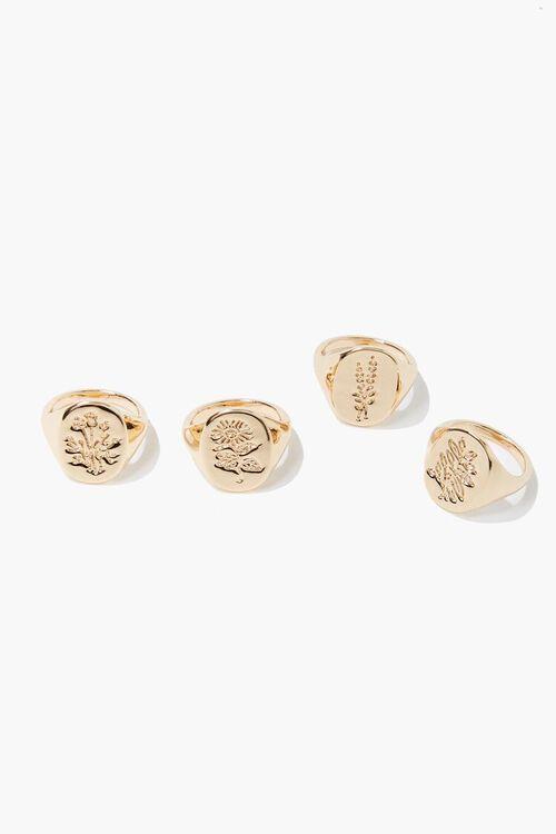 Floral Engraved Ring Set, image 1