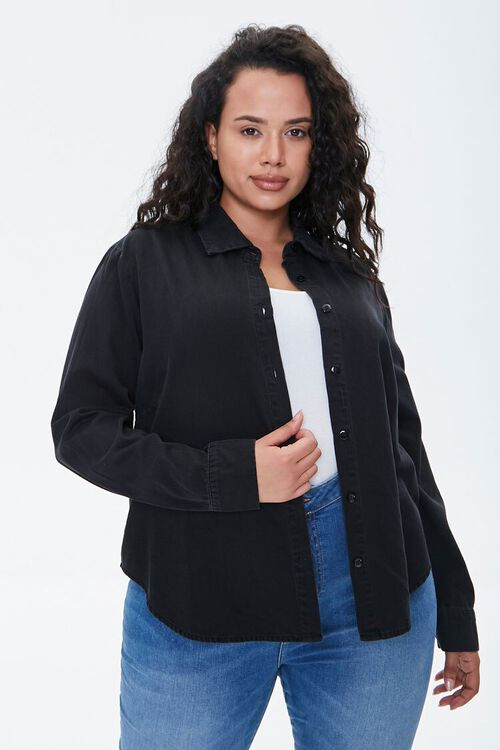 WASHED BLACK Plus Size Cotton Curved Shirt, image 5