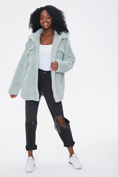 Faux Shearling Button-Front Jacket, image 4