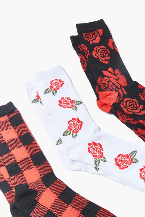 Men Floral & Plaid Crew Socks, image 2