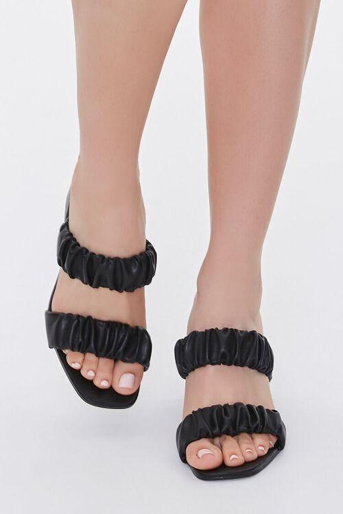 BLACK Ruched Block Heels, image 4