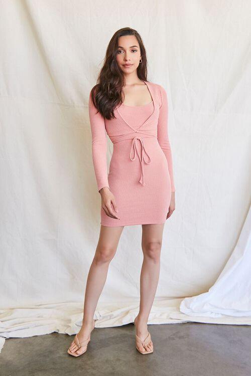 ROSE Ribbed Mini Dress & Crop Top Set, image 4