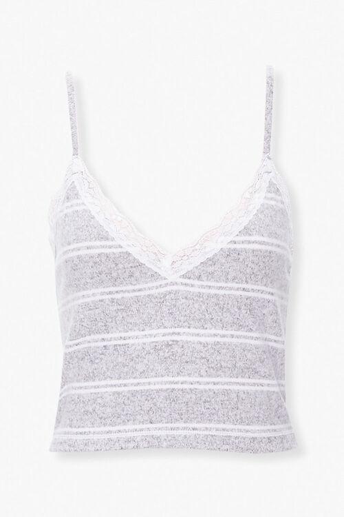 GREY/WHITE Striped Lace-Trim Lounge Cami, image 1