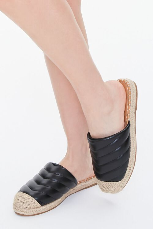 BLACK Quilted Espadrille Flats, image 1