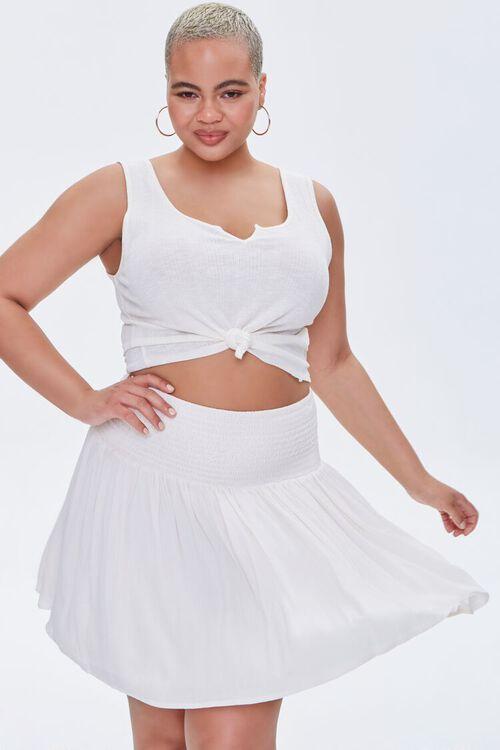 Plus Size Smocked Mini Skirt, image 1