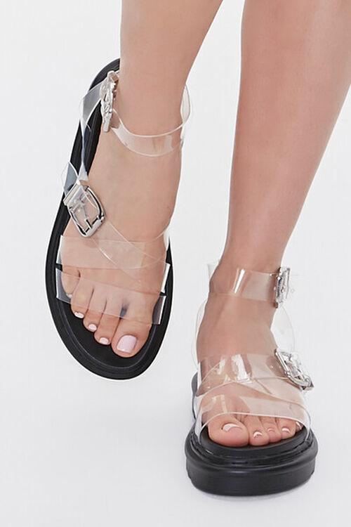 Transparent Dual-Buckle Flatform Sandals, image 4