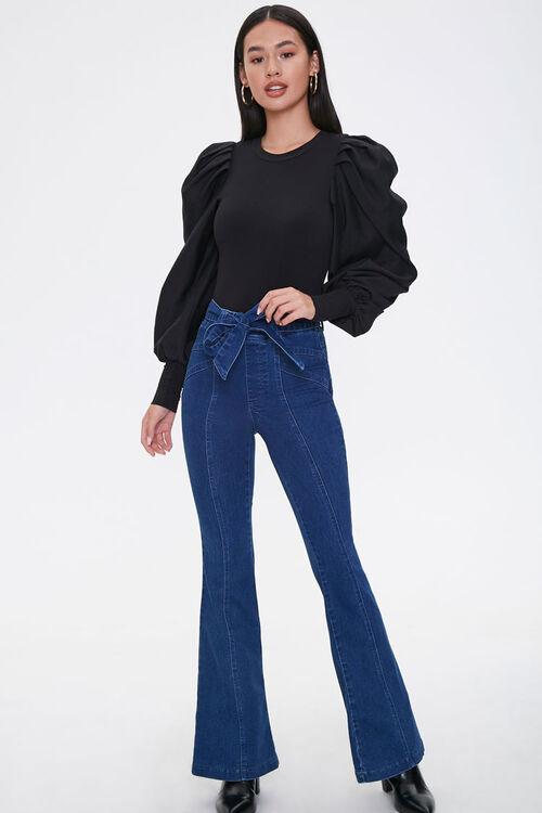 Tie-Belt Flare Jeans, image 5