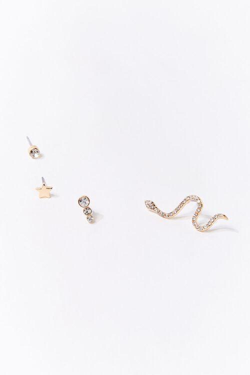 Rhinestone Snake Charm Earring Set, image 2