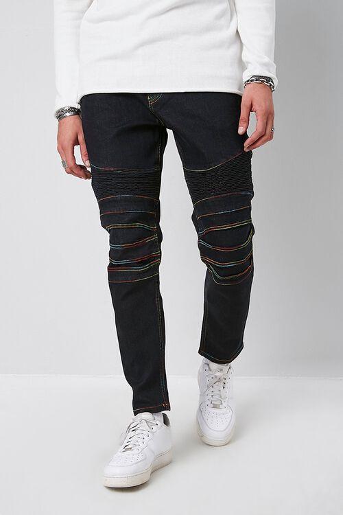 Rainbow Thread Skinny Moto Jeans, image 1