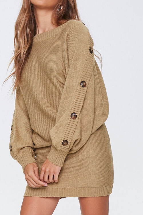 Button-Trim Sweater Dress, image 1