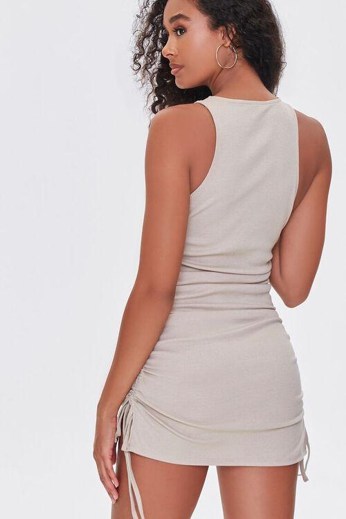 TAUPE Ruched Drawstring Mini Dress, image 3
